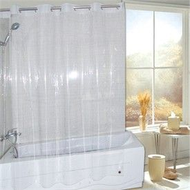 Super Clear EVA Non Toxic Vinyl EZ ON HOOKLESS Shower Curtain Or Liner Hookless Shower