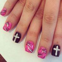 3-D Rhinestone Cross Nails Design   Cross nail designs ...