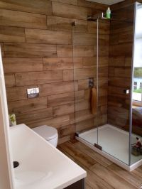 Our bathroom at home ... Wood effect porcelain tiles ...