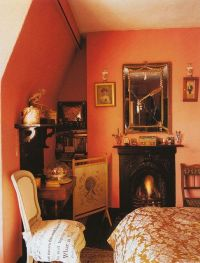 Tangerine walls and Fortuny fabric...and that fabulous ...