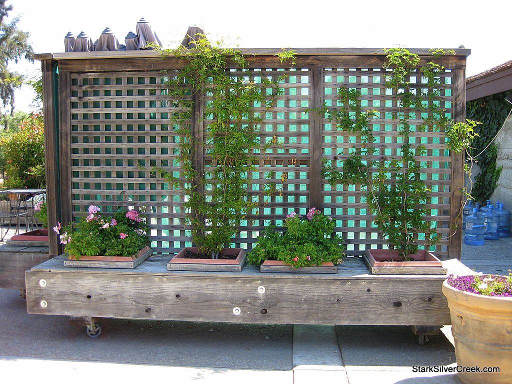 Movable Privacy Fence On Casters With Built In Planters Could