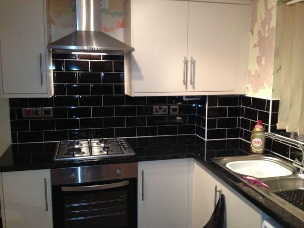 black kitchen tiles kitchen black tiles natural oak - Google Search | New