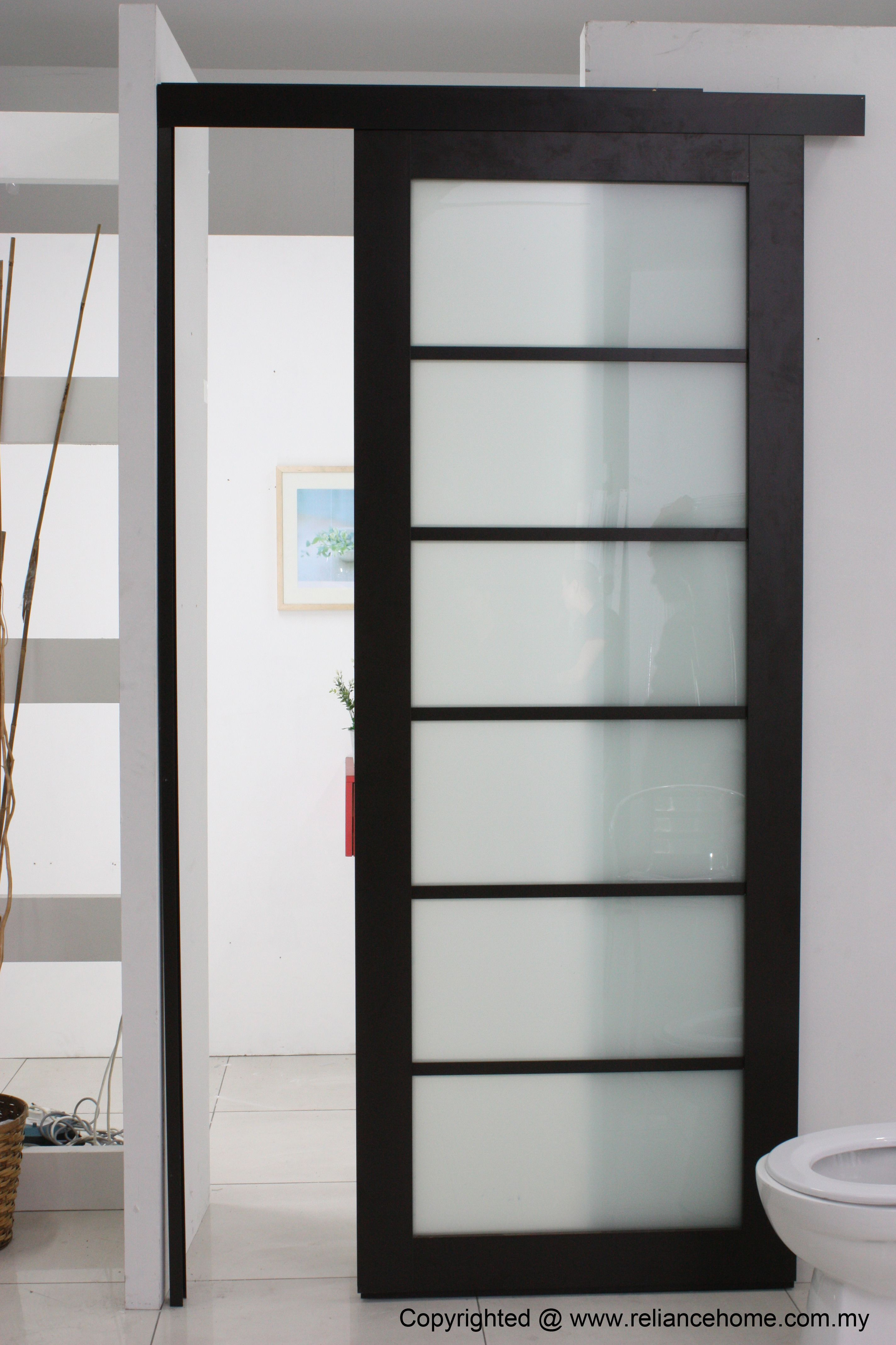 Nice Looking Frosted Sliding Single Bathroom Doors For Minimalist Bathroom Decors In White