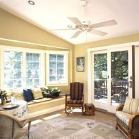 Comfy Sunroom Interior Nuance with Gold Wall Paint Color ...