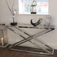 Brooklyn Chunky Chrome & Glass Console Table