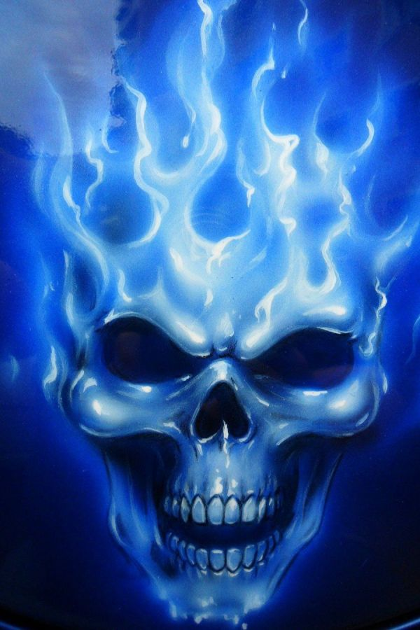 Blue Flames with Skull Drawings