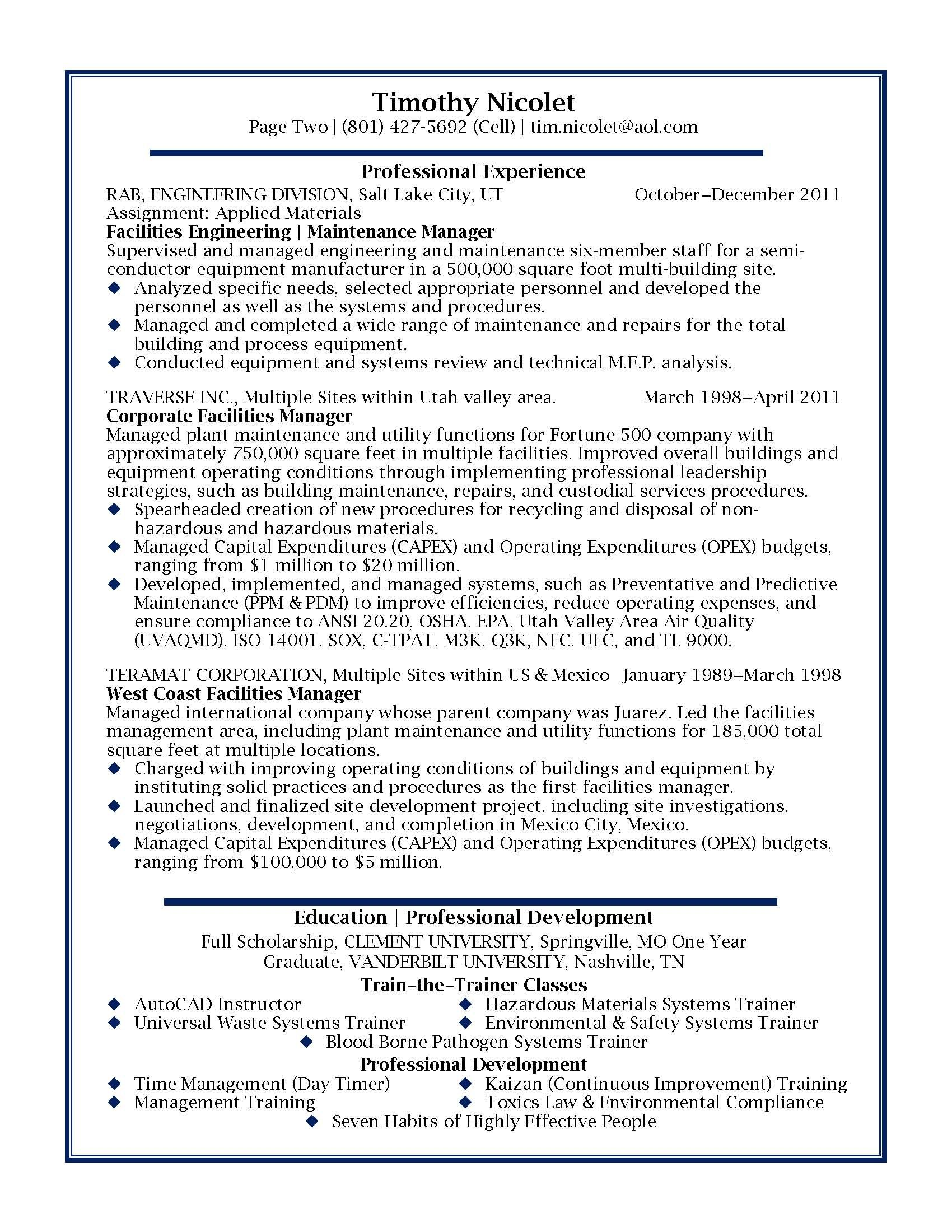Professional Examples Of Resumes Facilities Manager Professional Resume Sample Design