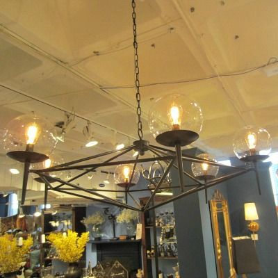 Rowan Chandelier Worlds Away Clayton Gray Home Modern Iron Light With Glass
