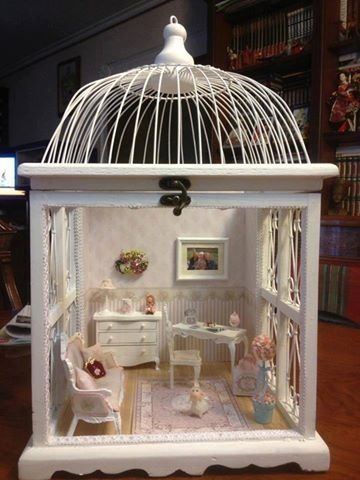 Salvaged Birdcage And Meticulous Upcycling Dollhouse
