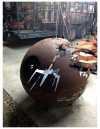 Death Star Fire Pit 5/8's Steel recycled propane tank With ...