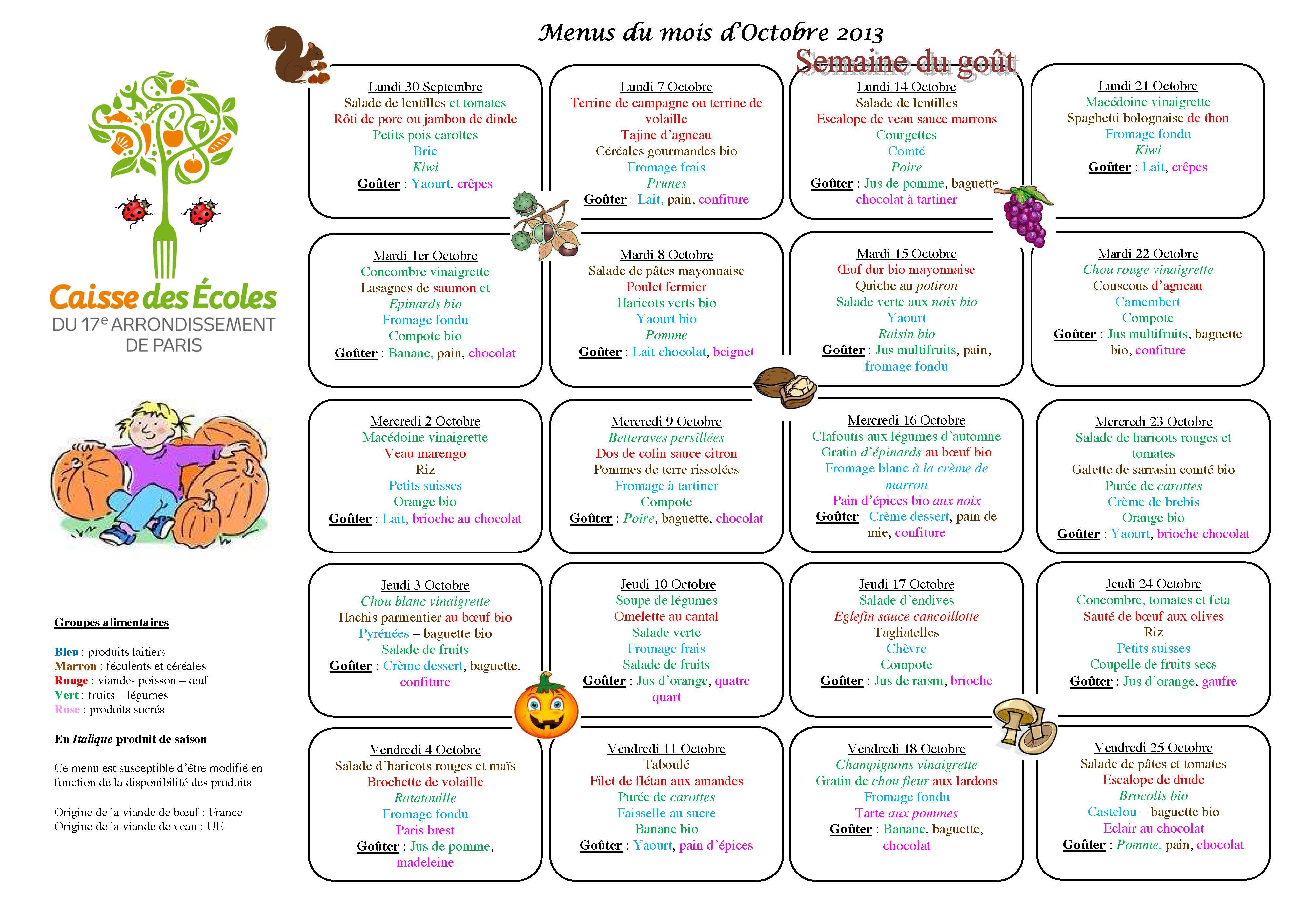 french kids school lunch menus from a different city each
