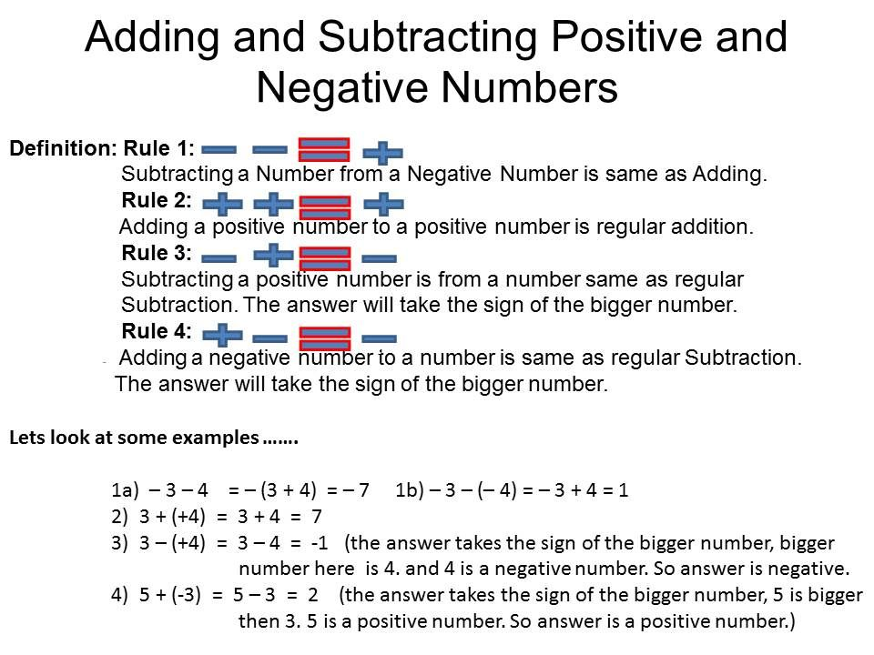 Add And Subtract Negative Numbers Worksheet