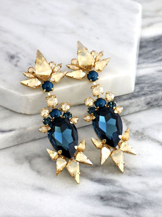 Blue Chandelier Earrings Bridal Navy Statement Dark Champagne