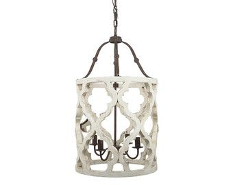 4 Light Quatrefoil White Distressed Chandelier Painted French Country Lighting Shabby Chic Farmhouse