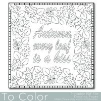 Autumn Leaves Coloring Page for Adults PDF / JPG by ...