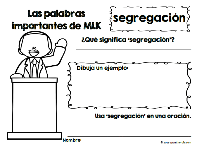 Martin Luther King Jr. Day in Spanish (dia de MLK) espanol