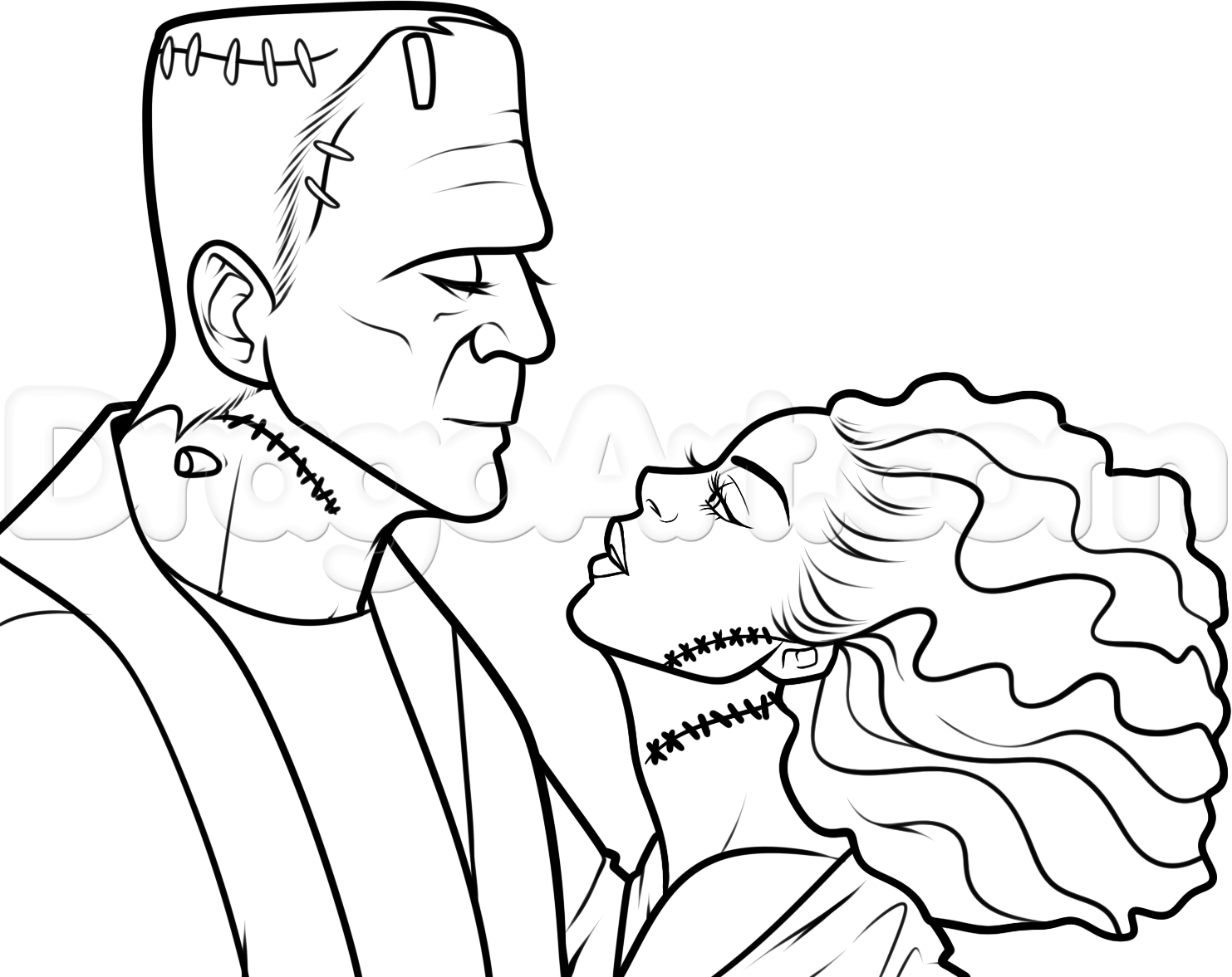 How To Draw Frankenstein And His Bride Step 12