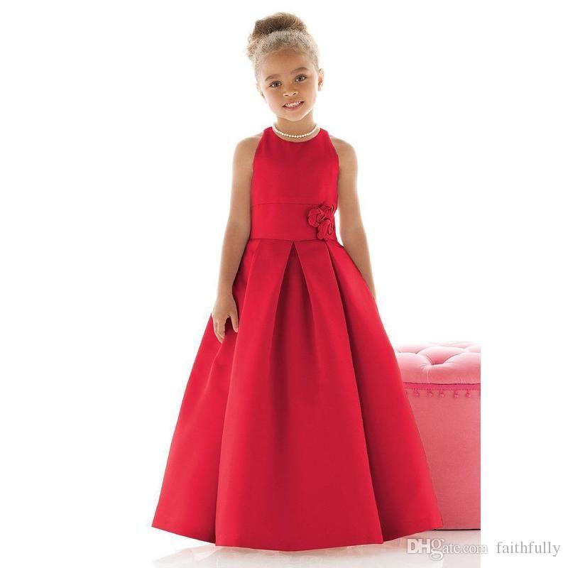 Elegant Red Color Satin Little Girls Formal Dresses 2017