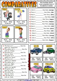 Comparatives ESL Printable Gap Fill Exercises Quiz For ...