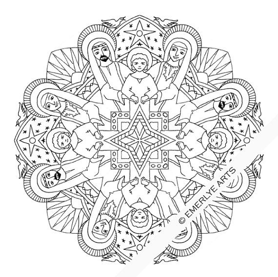 Holy Family Mandala- adult coloring page printable