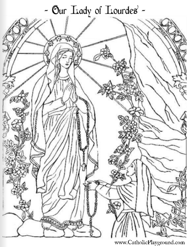 Our Lady of Lourdes and Saint Bernadette Catholic coloring