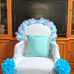 Baby Shower Chair Decorations White Wicker Mom To Be Thrown Draped With A Bed Sheet And