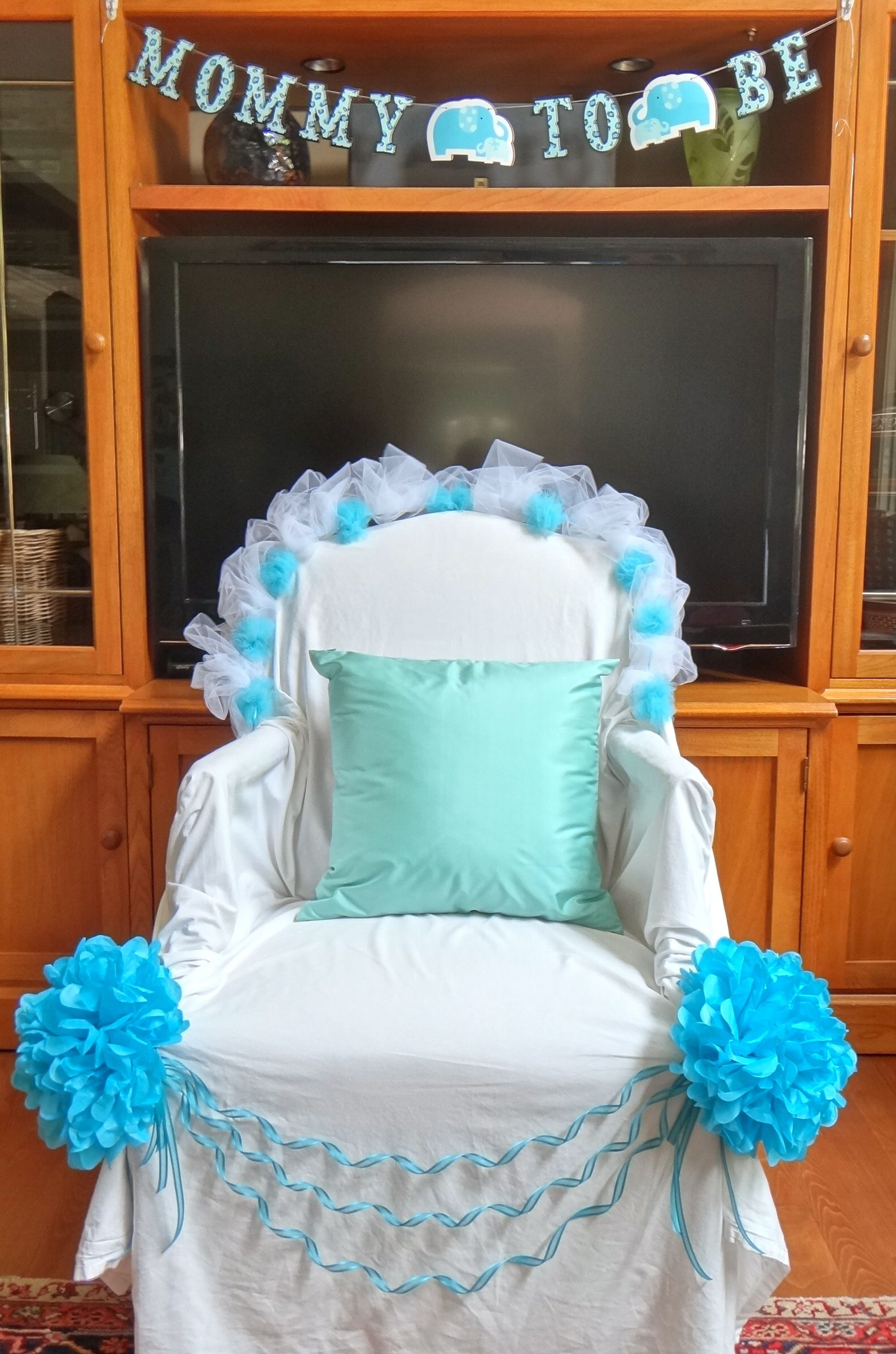 Baby Shower Chair Mom To Be Thrown Chair Draped With A White Bed Sheet And