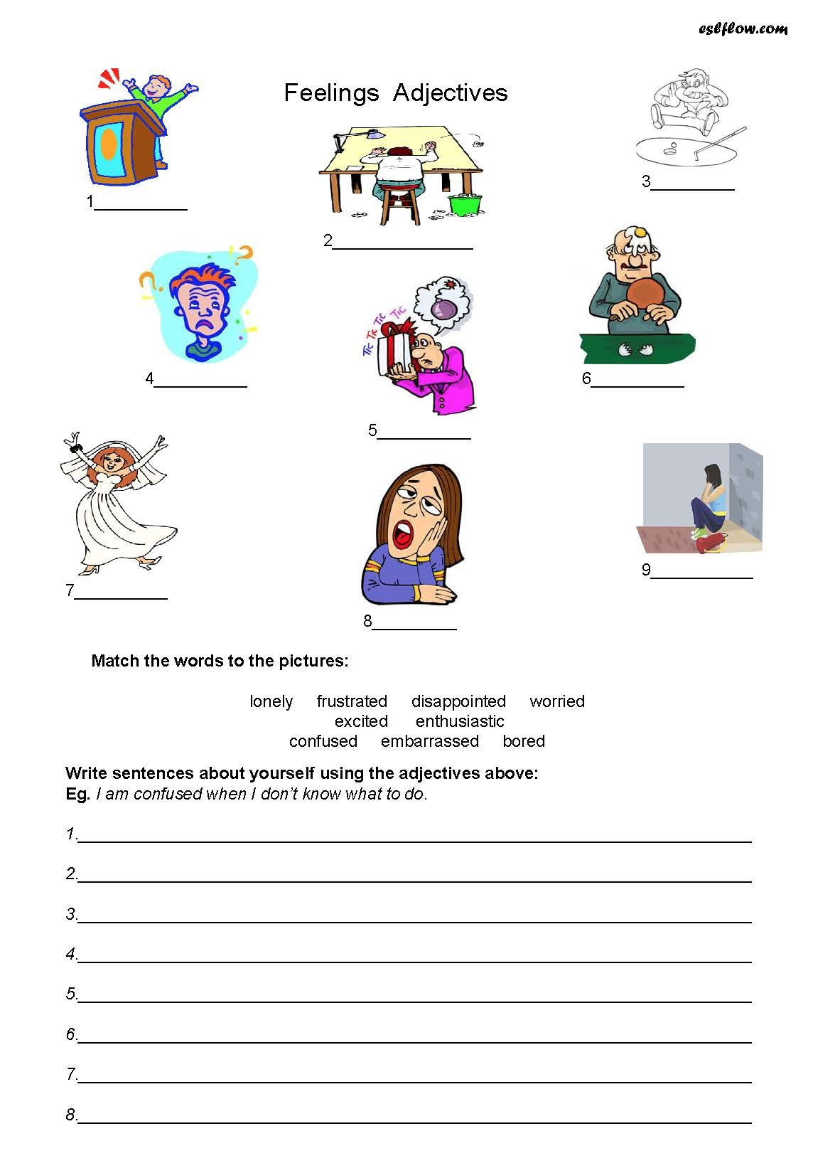 Feelings Adjectives Worksheet