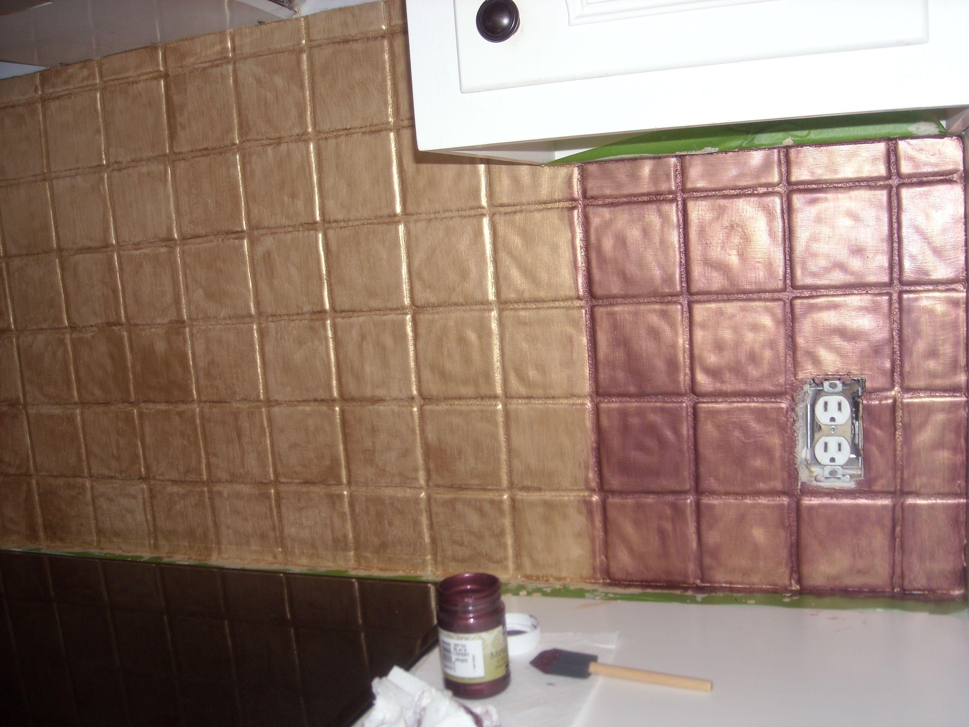 metallic kitchen wall tiles tile refinishing yes you can paint over i turned my backsplash