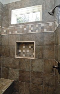 Gorgeous dark brown custom tile walk in shower with a ...