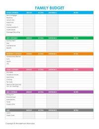 Free Printable Family Budget Worksheets | Budgeting ...