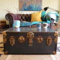 VINTAGE mid century TRAVEL school CABIN steamer TRUNK ...