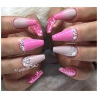 Pink ombr coffin nails fashion nail design glitter fade ...