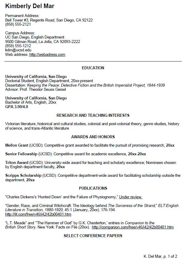 English CV Sample Writing Your Curriculum Vitae Resume