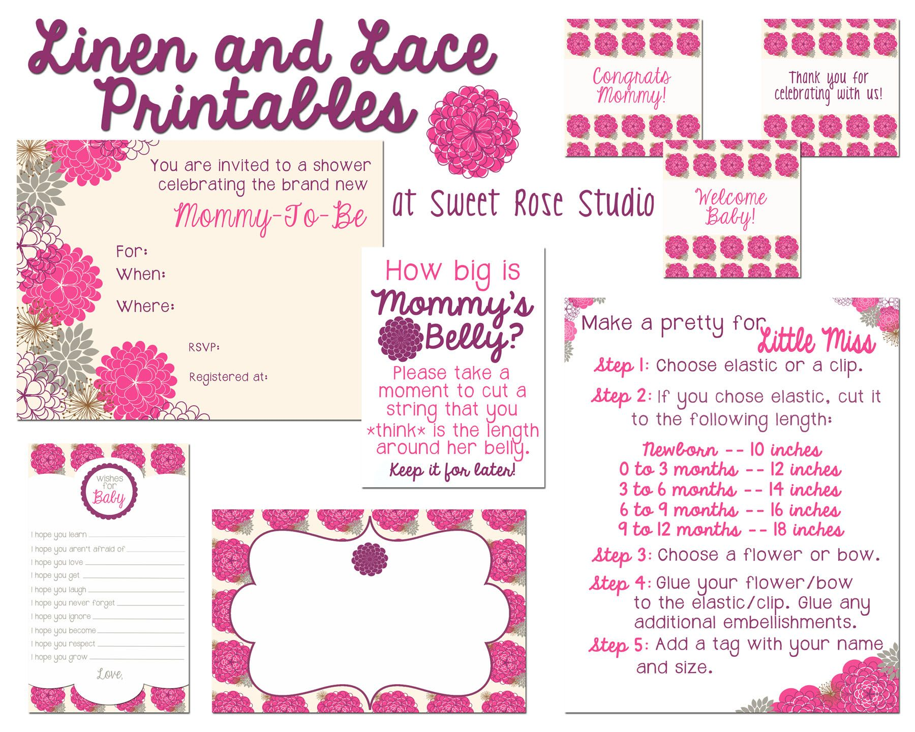 Linen And Lace Baby Shower Party Printables