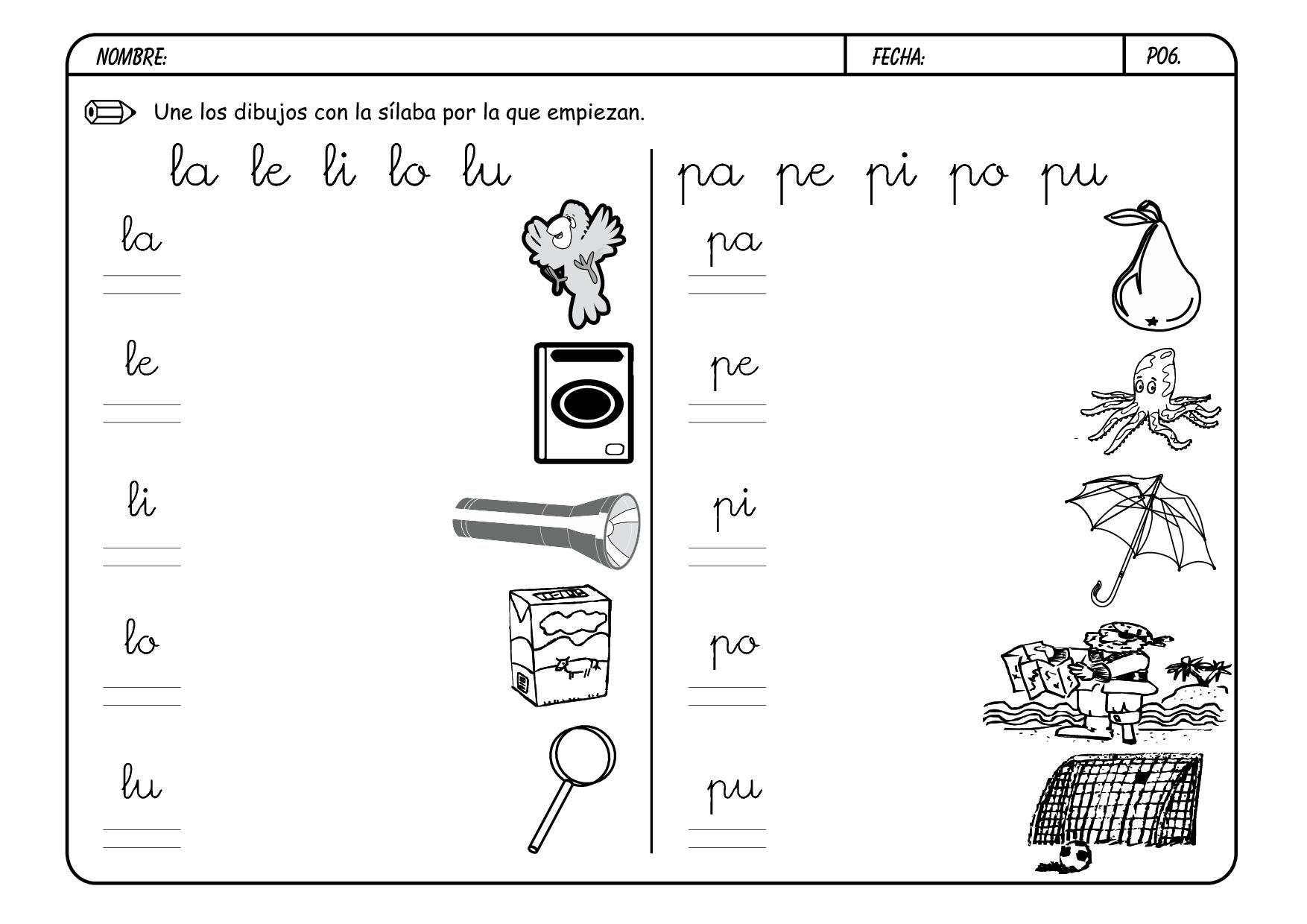 Actividades Letra P Para Preescolar
