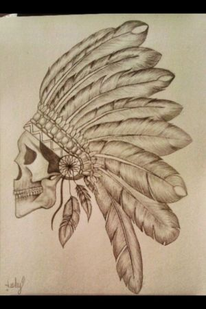 indian drawing drawings skull tattoos tattoo native american draw indians awesome headdress artwork