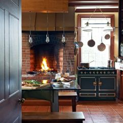 What To Clean Grease Off Kitchen Cabinets Crosley Alexandria Island Rustic Modern With Fireplace + Trophy Cook Stove ...