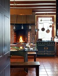 rustic modern kitchen with fireplace + trophy cook stove ...