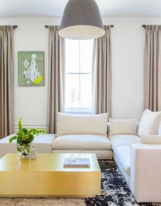 Room also custom brass coffee table and oversized pendant in the chelsea rh pinterest