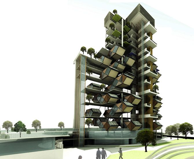 Futuristic Vertical City Holds Plug In Hexagonal Housing Units