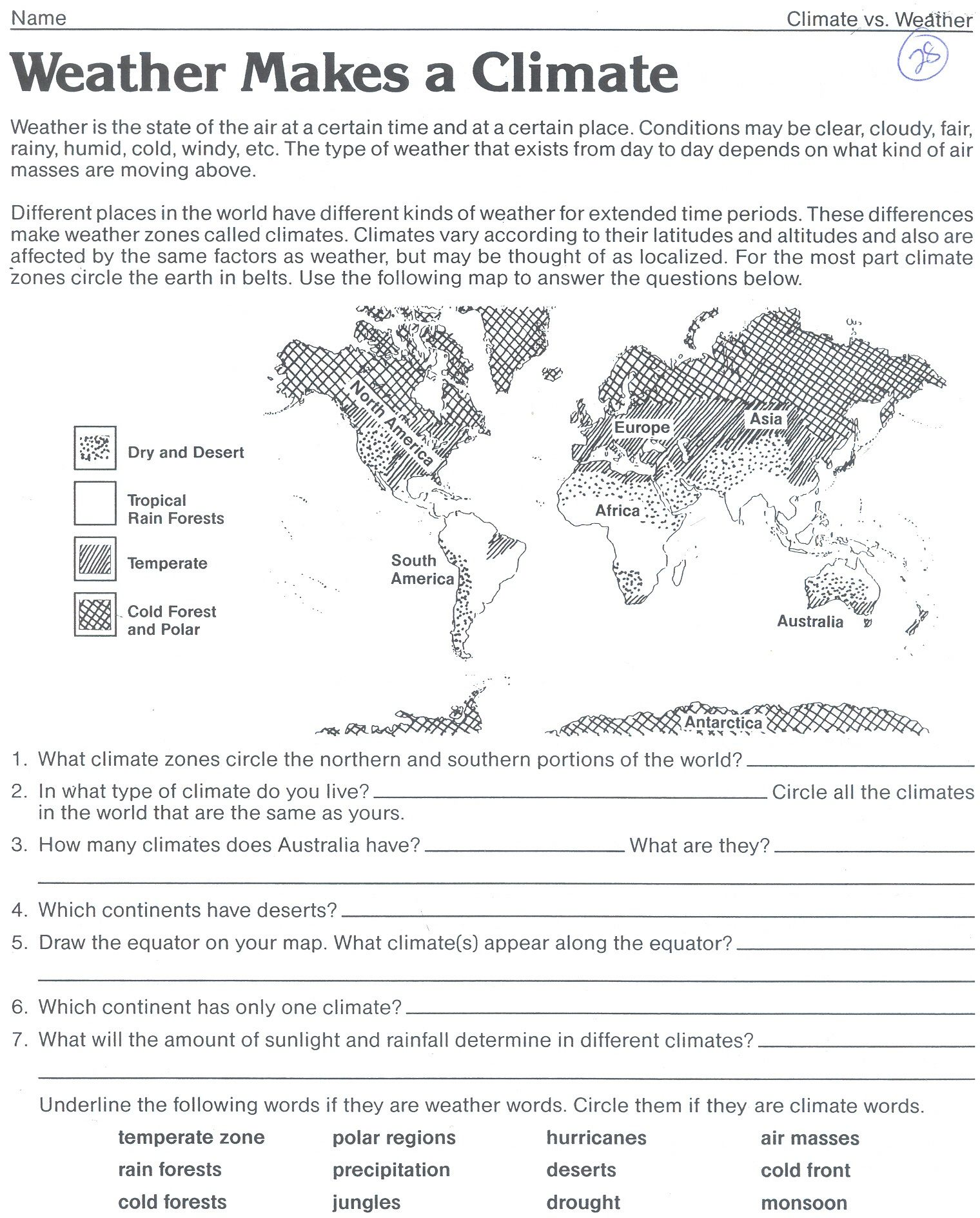 Weather Worksheet New 76 Weather Climate Worksheets