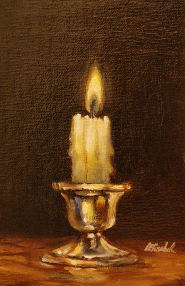 """Candle Silver Holder Oil 4""""x6"""" Linen Panel"""