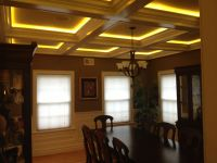 Coffered ceiling with elegant recessed lighting