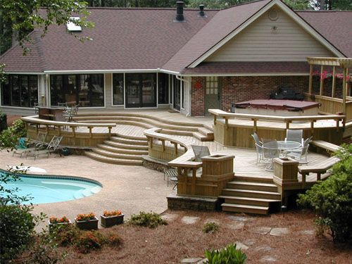Decks With Steps From Door Cantilever Patios Umbrella Retailer