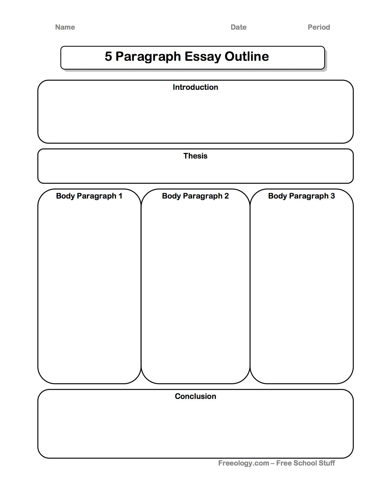 Great 5 Paragraph Expository Essay Graphic Organizer I
