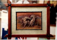 Wild Horse Hand carved leather Artwork, wall hanging ...
