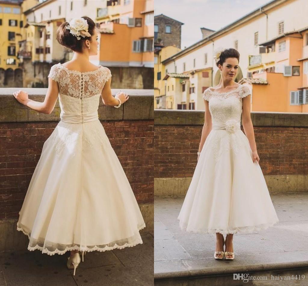 50s Style Retro Vintage Wedding Dresses Illusion Neck