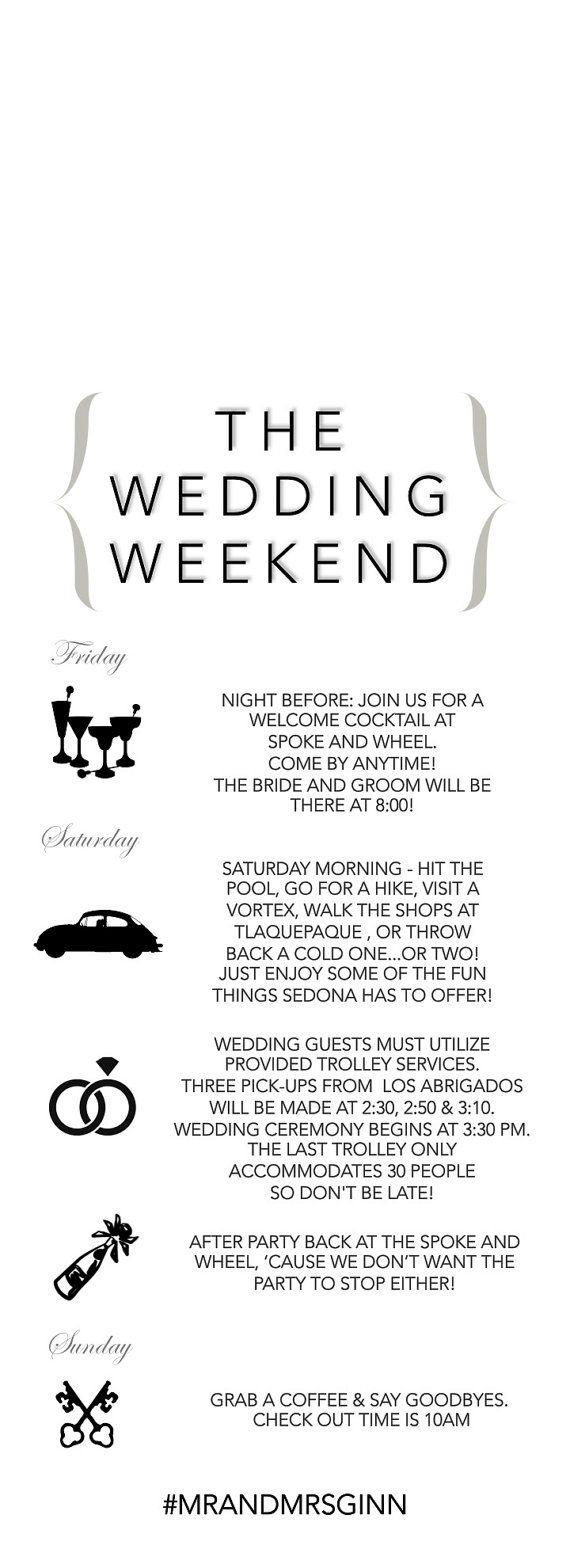 Wedding Door Hanger, Wedding Itinerary, Wedding Weekend