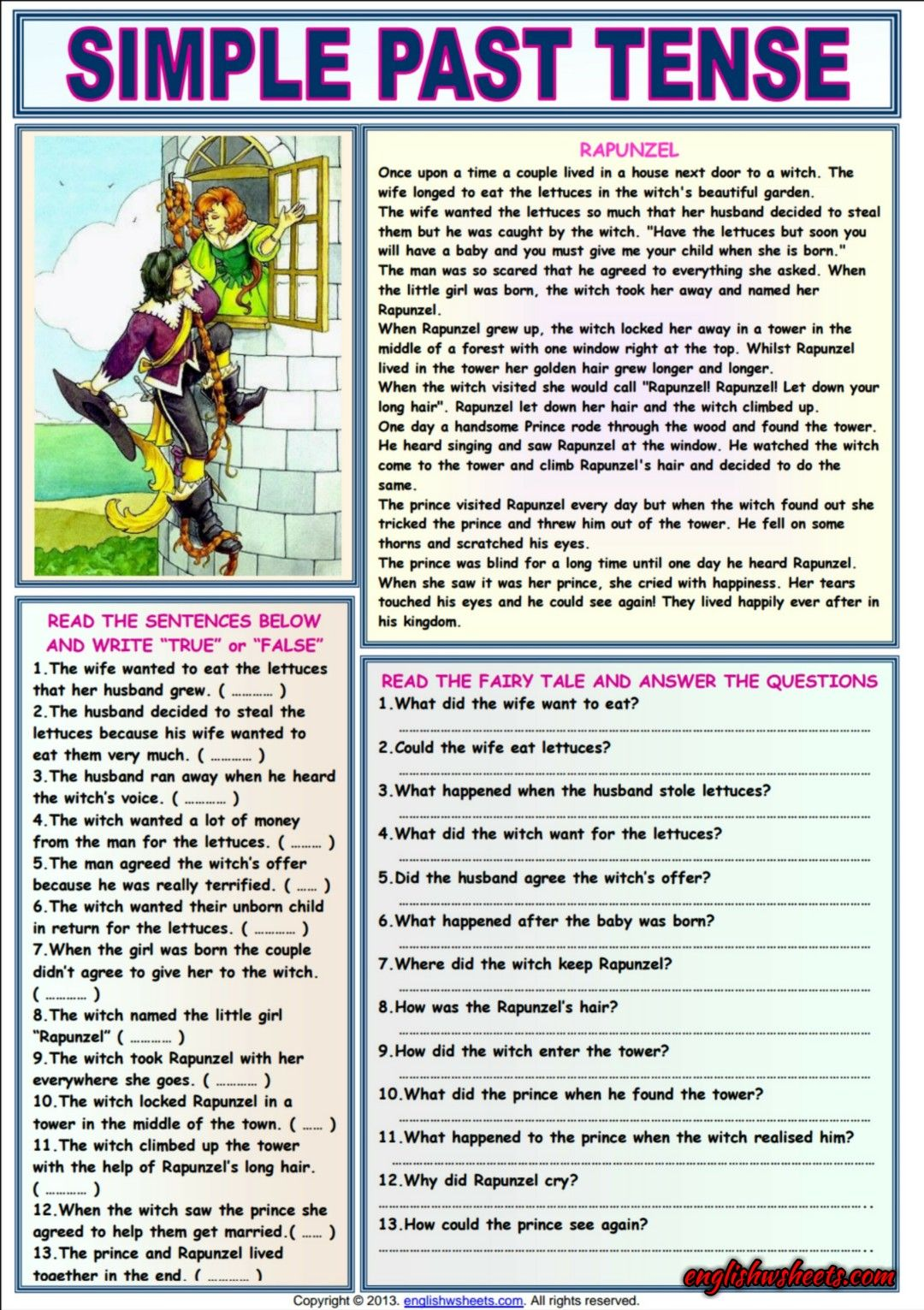 Rapunzel Comprehension Esl Exercises Worksheet